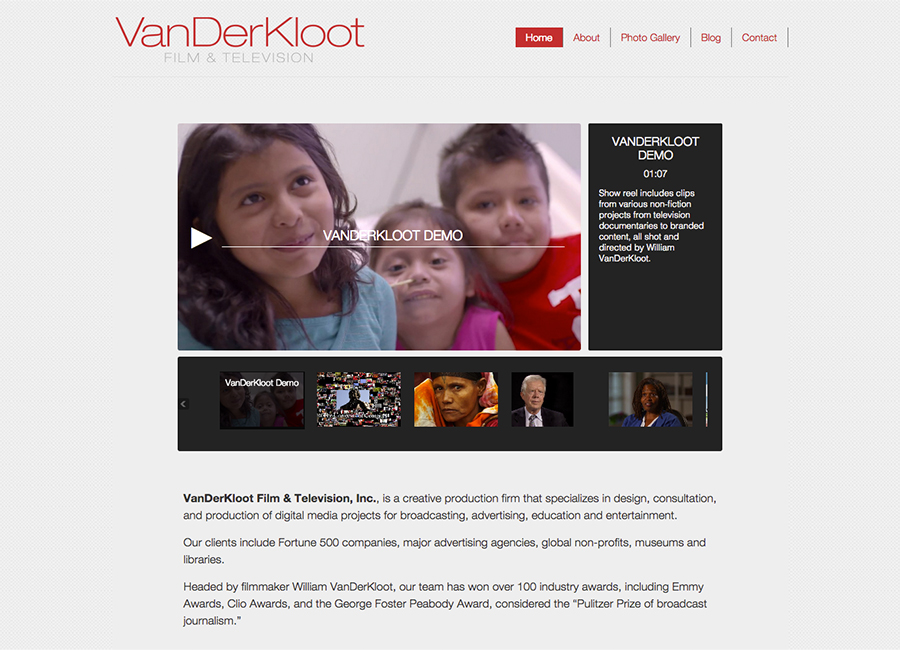 Thumbnail of Web Design for Vanderkloot Film and Television